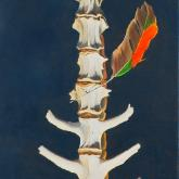Antelope Spine with Feather, oil on canvas, (bones)