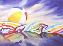 Beach Ball Sunset, watercolor & charcoal, ©Anna Dal Pino