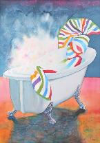 Beach Towel in a Bath Tub, watercolor, ©Anna Dal Pino