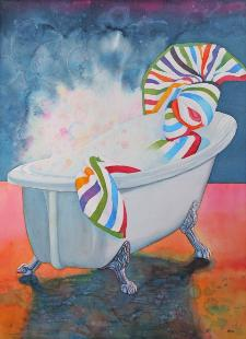 Beach Towel in a Bath Tub, watercolor