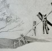 Clothesline, New Mexico, pencil on paper