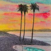 Dawn Pismo Beach, watercolor and charcoal