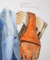 Denim & Saddle Bag, watercolor, ©Anna Dal Pino