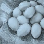 Eggs in Charcoal, Chalk and Pencil