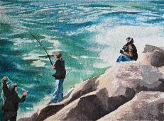 Fishing Noyo Harbor, watercolor, ©Anna Dal Pino