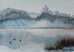 New Years Day, Lake Cleone, watercolor, ©Anna Dal Pino