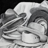 No Rabbit, charcoal on paper,  (hats)