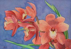 Orchid Inflorescence, watercolor, Anna Dal Pino