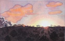 Sunset Mangas Mountain, watercolor, ©Anna Dal Pino