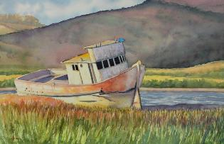 Tomales Bay Fixer Upper, watercolor, ©Anna Dal Pino