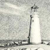 Lighthouse, charcoal on paper