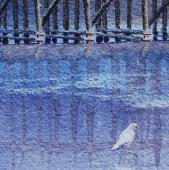 Seagulls at the Trestle, watercolor and colored pencil
