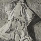Straitjacket Hanging Upside Down, pencil on paper