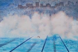 Winter Morning Swim, watercolor, ©Anna Dal Pino